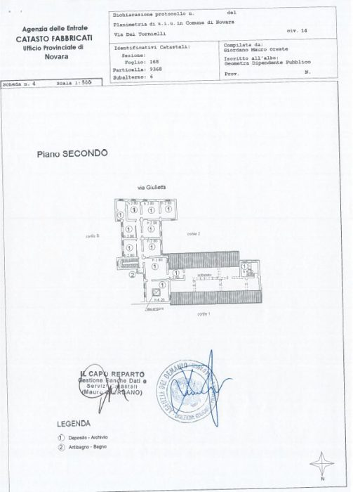 Novara – PALAZZO CATTANEO Pianta principale