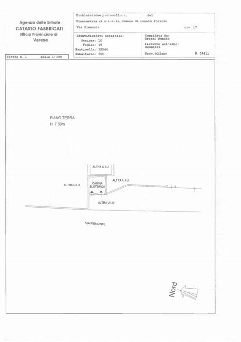 Lonate Pozzolo – Complesso Industriale in via Piemonte Pianta principale