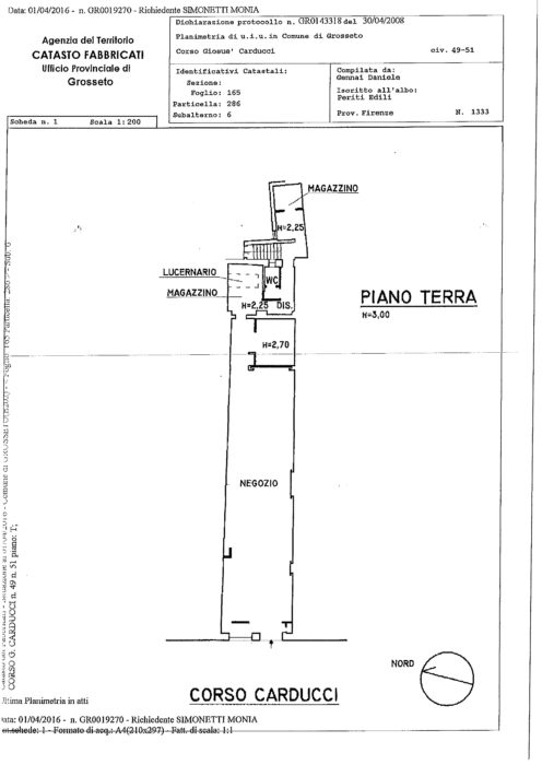 Grosseto – Real Estate Unit in Building for this Purpose OO.PP. Corso Carducci, Via Cairoli and Piazza Baccarini floorplan