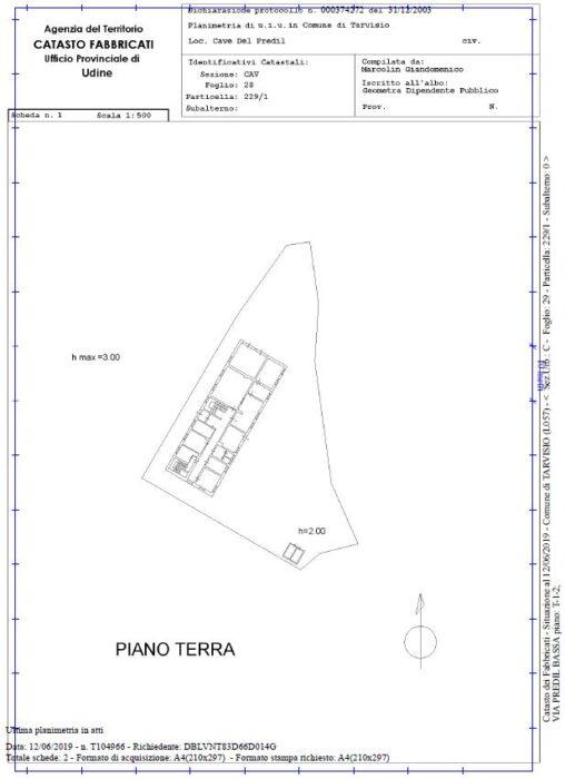 Tarvisio, Cave del Predil (UD) – Ex Caserma G.D.F. Montasio Pianta principale