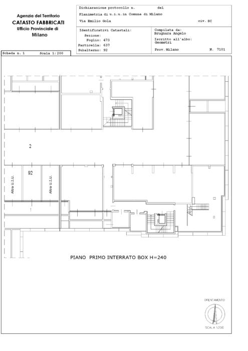 Milano – Appartamento Via Magolfa Pianta principale