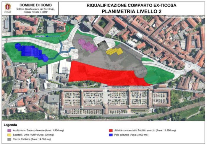 """Como – Riqualificazione dell'Area """"ex-Ticosa"""" Pianta principale"""